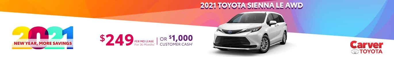 Best lease deal on a new 2021 Toyota Sienna near Columbus IN