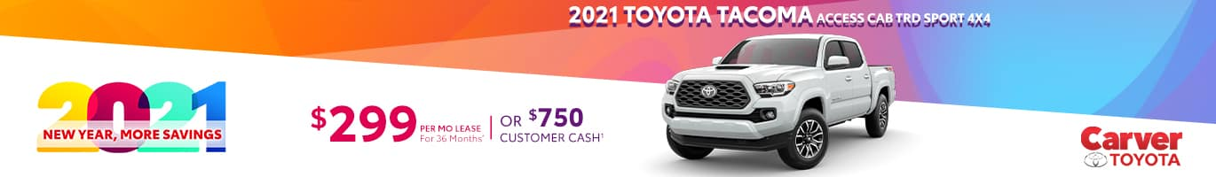 Best lease and rebate offer on a new Toyota Tacoma near Columbus IN