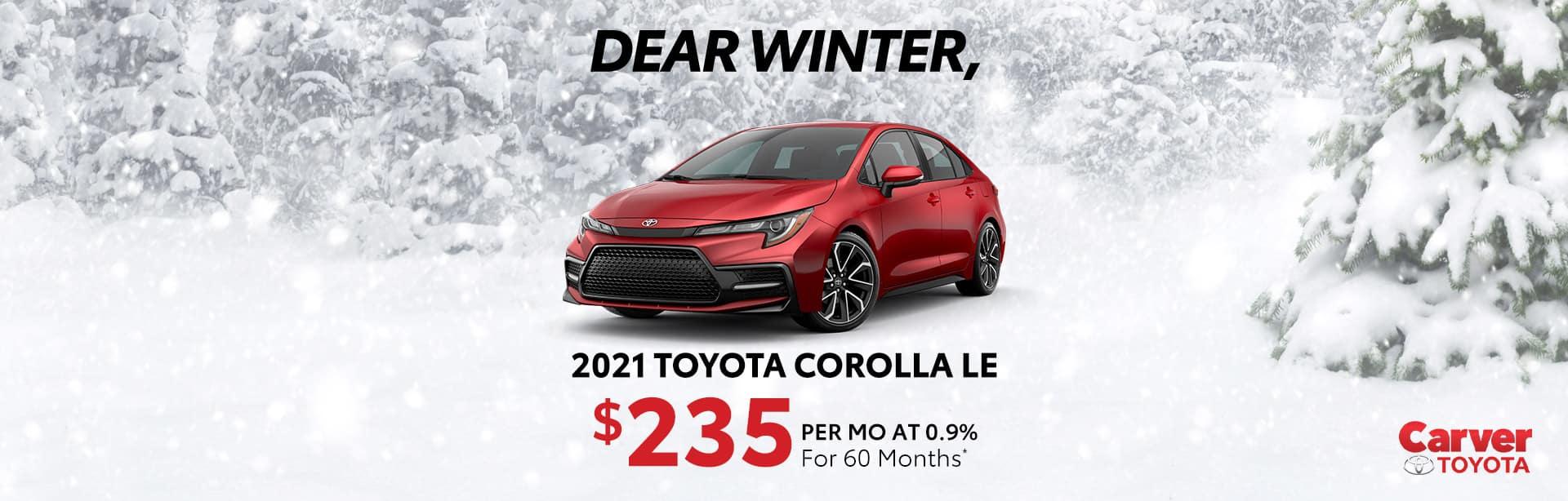 Big savings on a new 2021 Toyota Corolla near Taylorsville IN