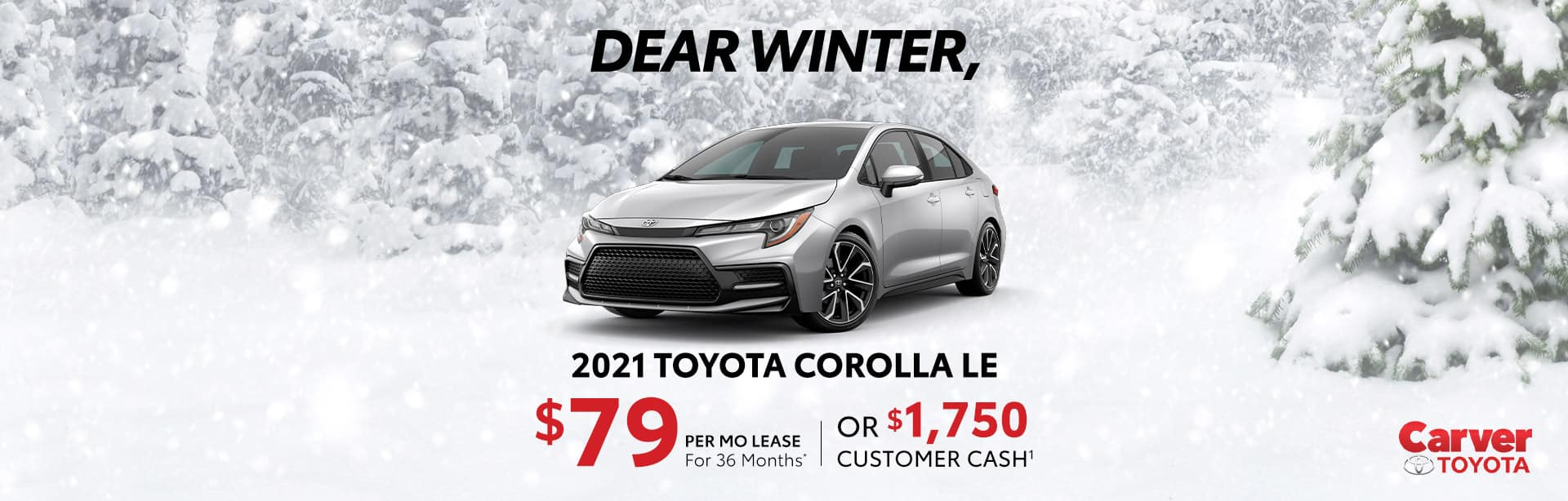 Big savings and lease offers on a new 2021 Toyota Corolla LE near Taylorsville IN