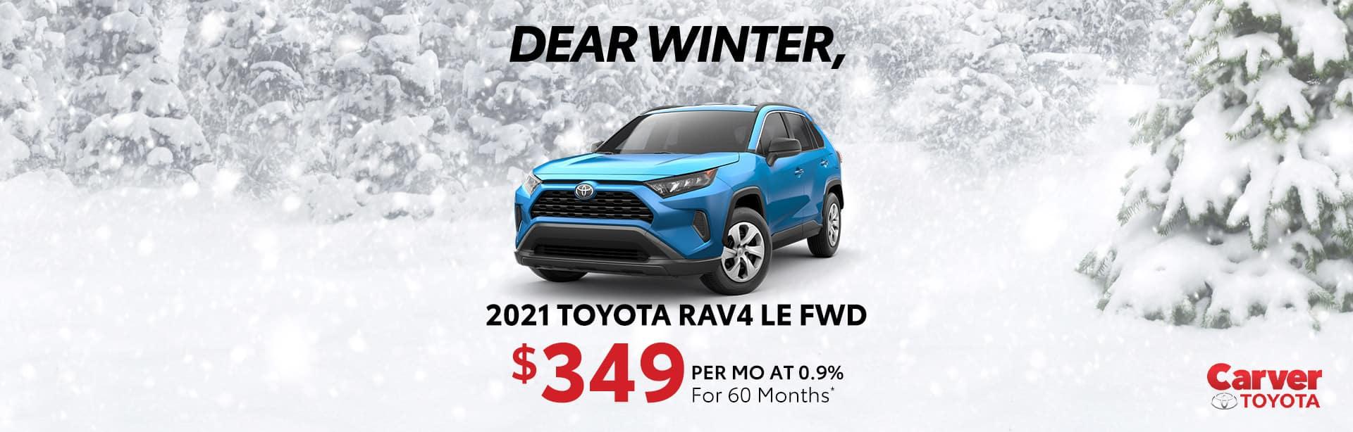 Best finance offer on a new 2021 Rav4 LE near Taylorsville IN