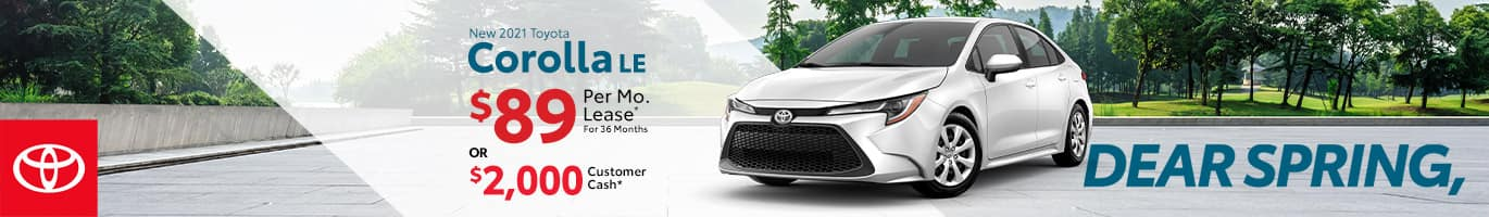 Best lease or customer cash offer on a new 2021 Toyota Corolla