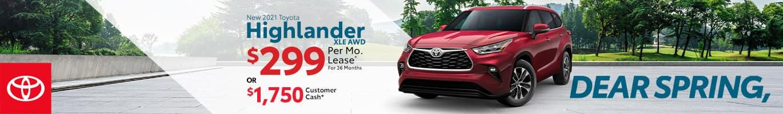 Best lease or customer cash offer on a new 2021 Toyota Highlander