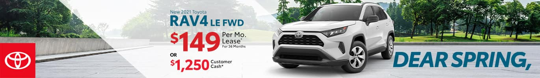 Best lease or customer cash offer on a new 2021 Toyota RAV4