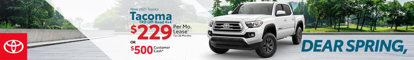 Best lease or customer cash offer on a new 2021 Toyota Tacoma