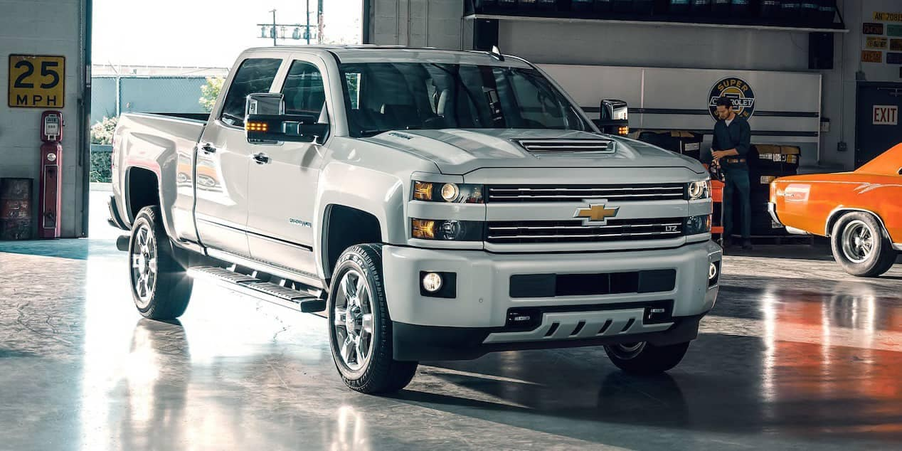 2018 Chevrolet SIlverado HD parked in garage
