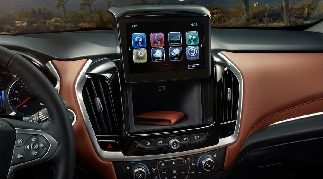2019 Chevrolet Traverse dashboard storage behind infotainment screen