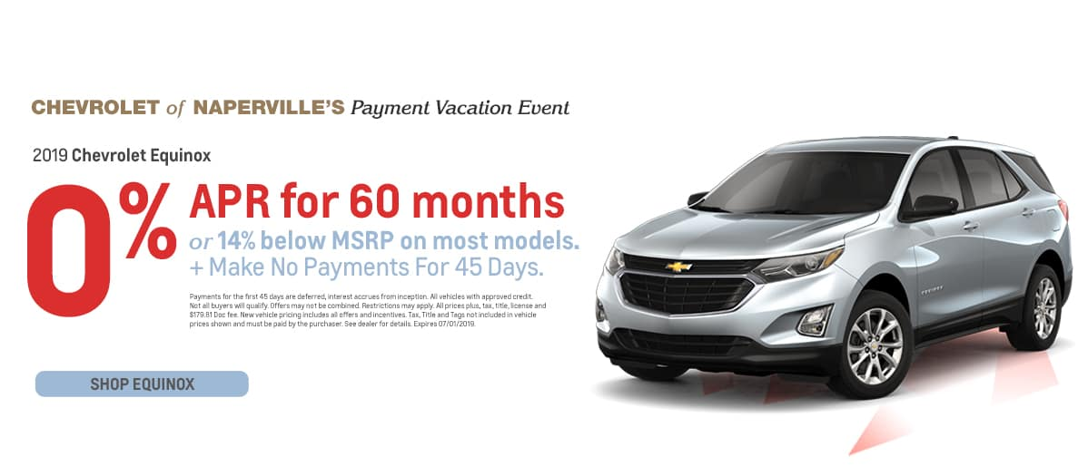 2019 Chevrolet Equinox - 0% APR for 60 months or 14% below MSRP on most models - Plus make no payments for 45 days - Shop Equinox