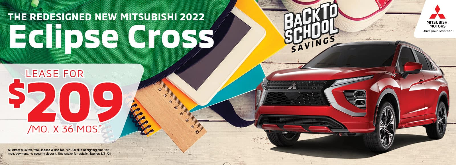 2022 Mitsubishi Eclipse Cross Lease for $209 per month for 36 months