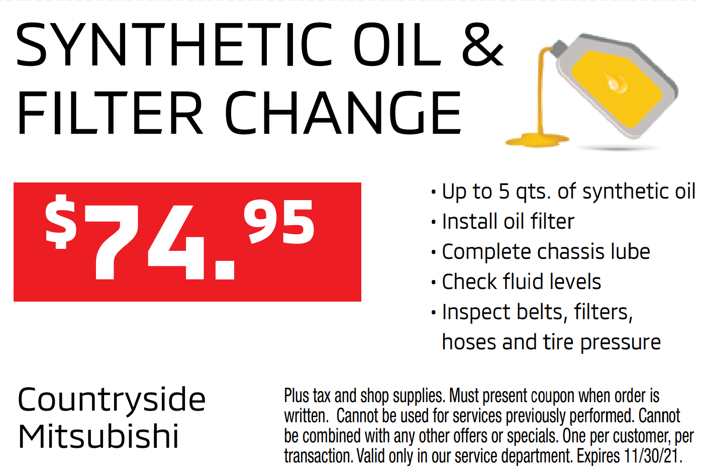 Synthetic Oil & Filter Change for $74.95