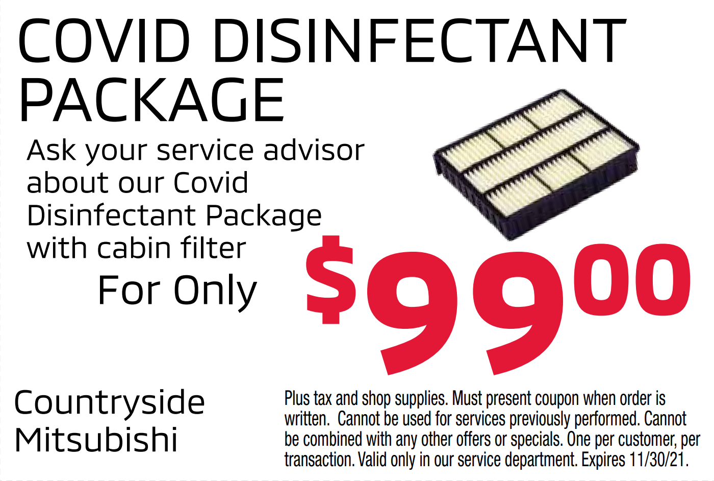 COVID disinfectant package with cabin air filter for only $99