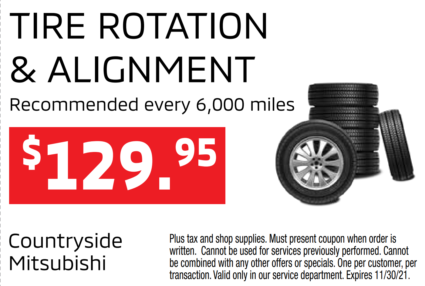 Tire rotation & alignment for $129.95