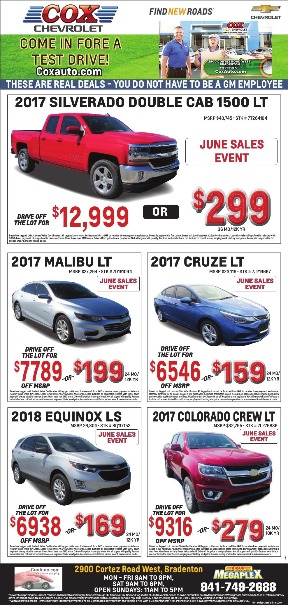 Cox Chevy Weekly specials