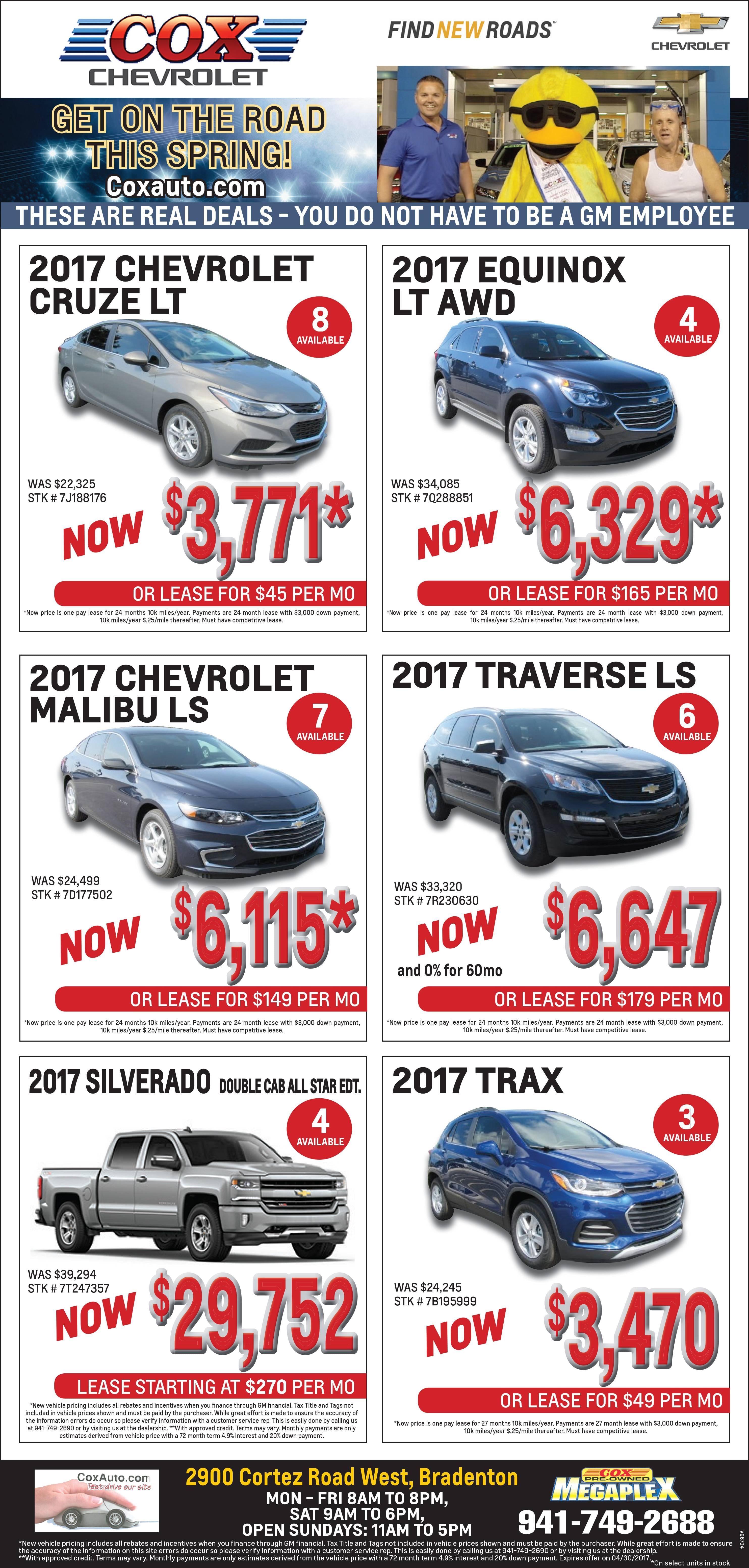 cox chevy weekly newspaper ad