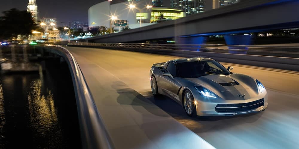 2018 Chevy Corvette Exterior Driving in the city at night