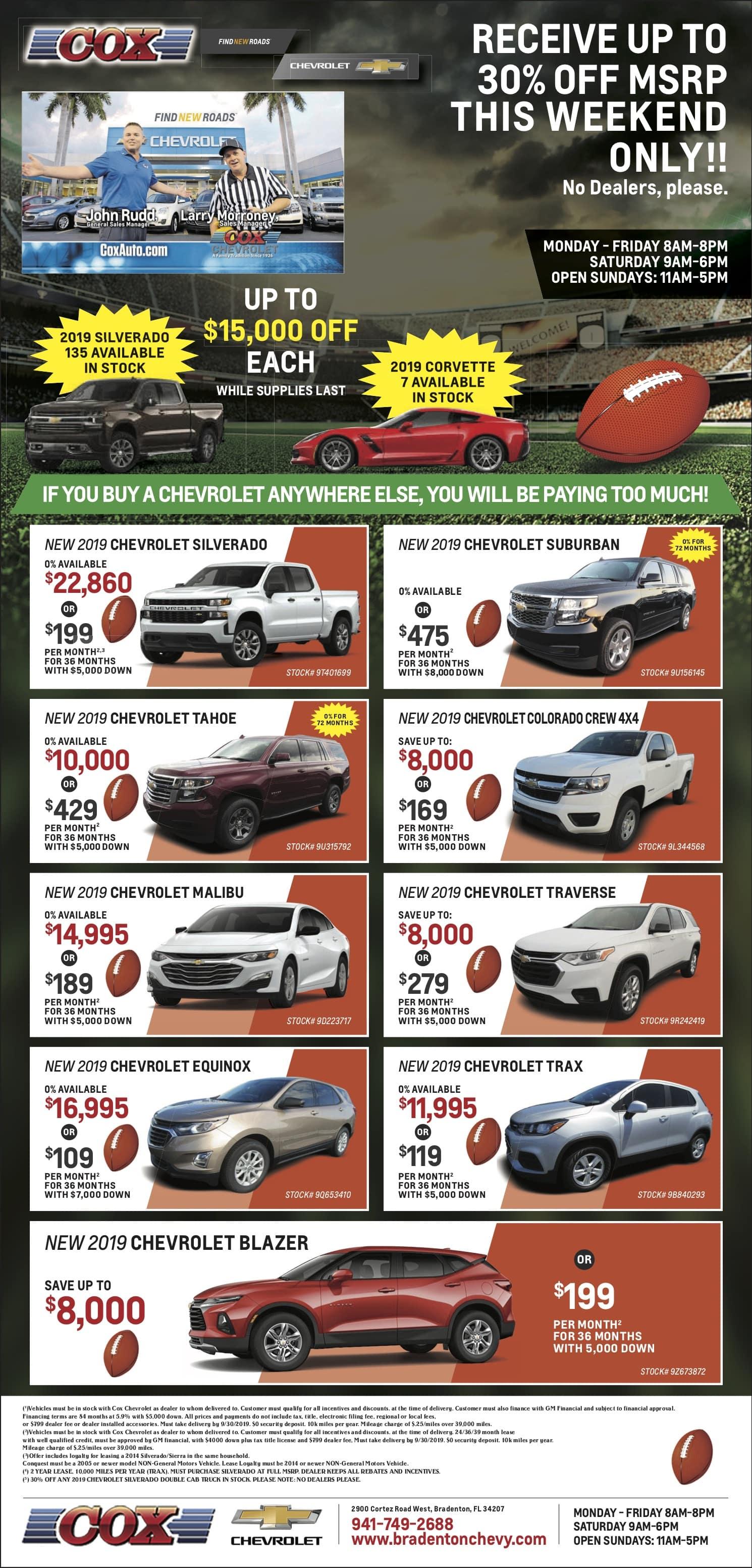 Cox Chevy Weekly Specials Ad