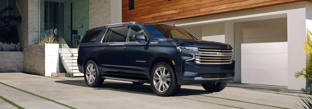 2021 Chevy Suburban Parked Outside Home