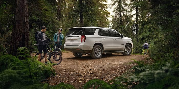 2021 Chevy Tahoe Parked on Bike Trails