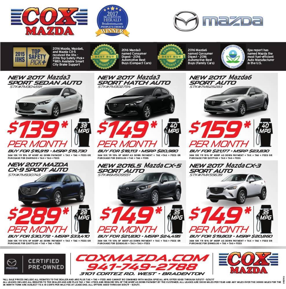 cox mazda weekly newspaper ad