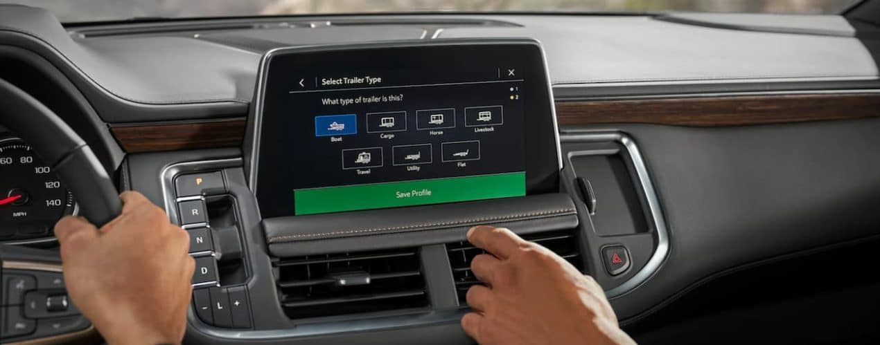 The touchscreen in the 2021 Chevy Tahoe is displaying the trailering app.