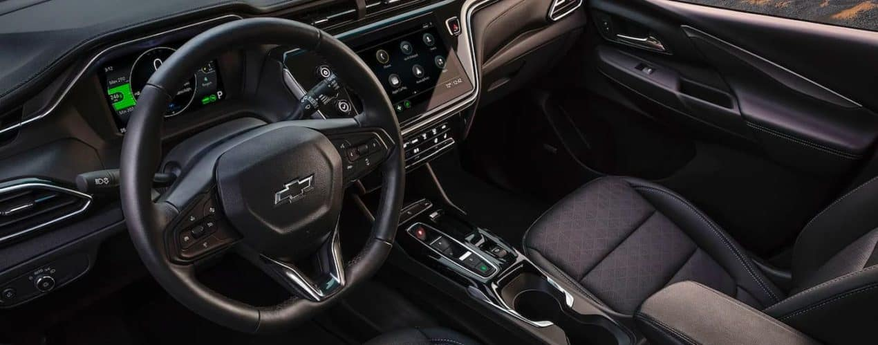 The black interior is shown in a 2022 Chevy Bolt EV.