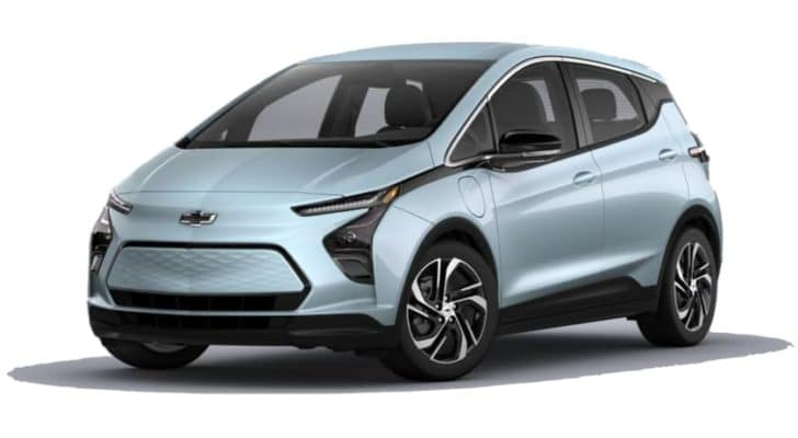 A pale blue 2022 Chevy Bolt EV is angled left.