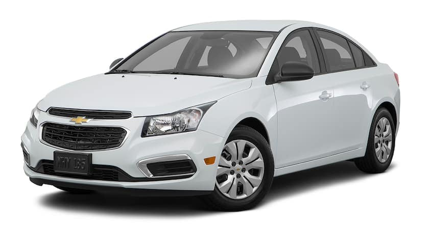A white 2016 Chevy Cruze is facing left.