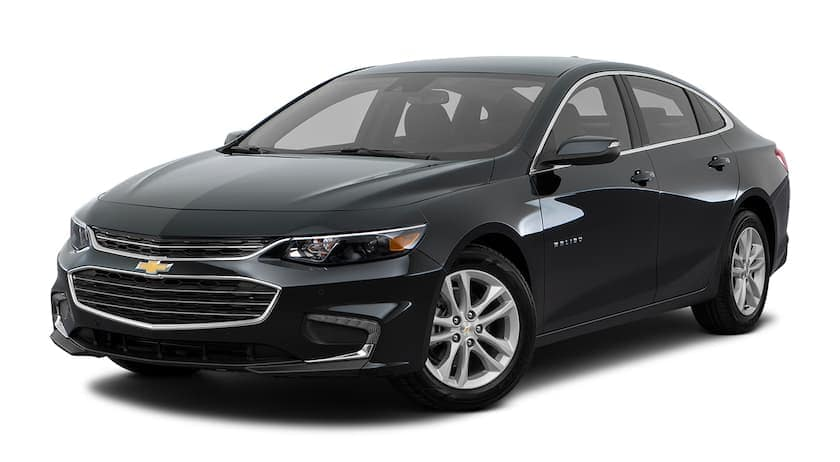 A black 2016 Chevy Malibu is facing left.