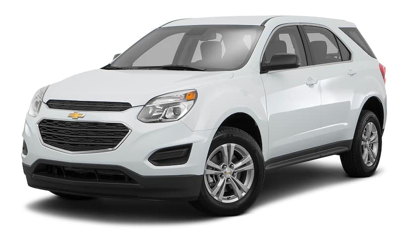 A white 2016 Chevy Equinox is facing left.