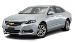 A silver 2016 Chevy Impala is facing left.