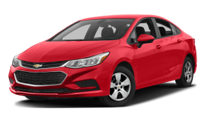 A red 2017 Chevy Cruze sedan is angled left on a white background.