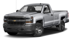 A silver 2017 Chevrolet Silverado 1500 is angled left on a white background.