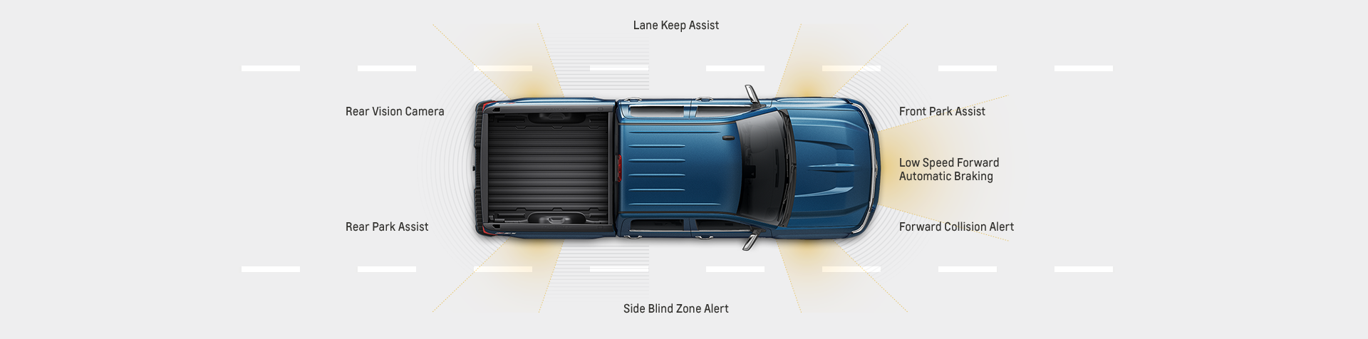 A top-down view of a blue 2017 Chevy Silverado 1500 is showing simulated safety features on all sides.