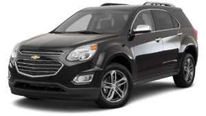 A black 2017 Chevy Equinox is angled left on a white background.
