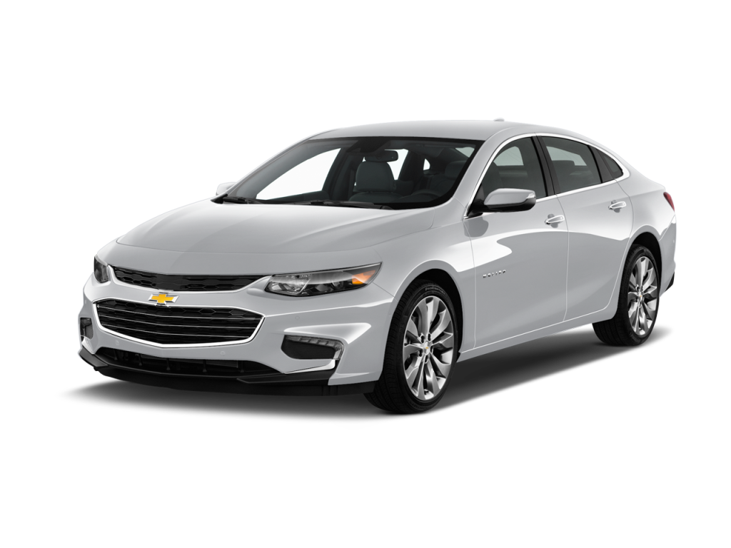 A silver 2017 Chevy Malibu is angled left on a white background.
