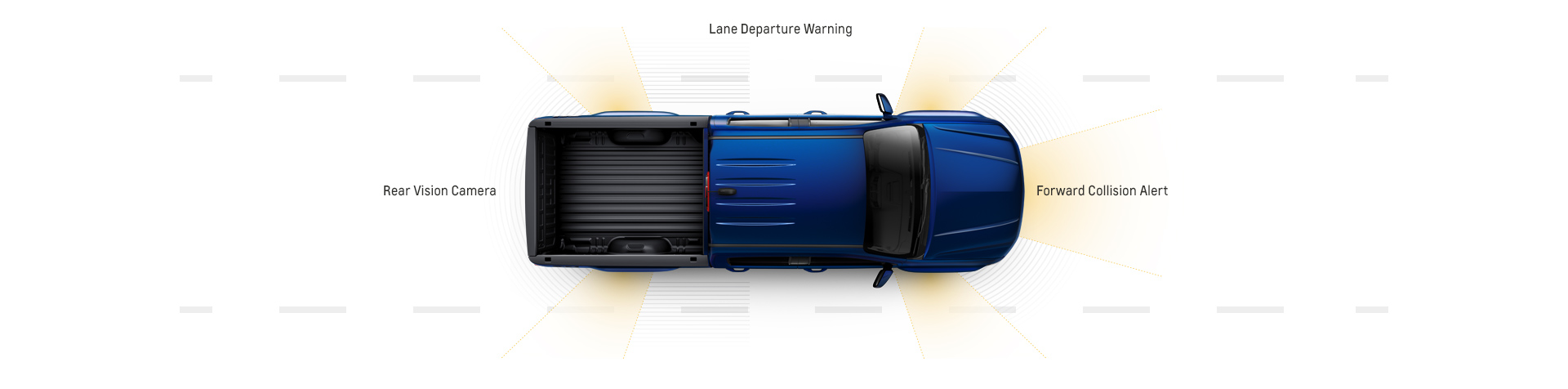 A diagram of the safety alerts is shown using a top down view of a blue 2017 Chevy Colorado.