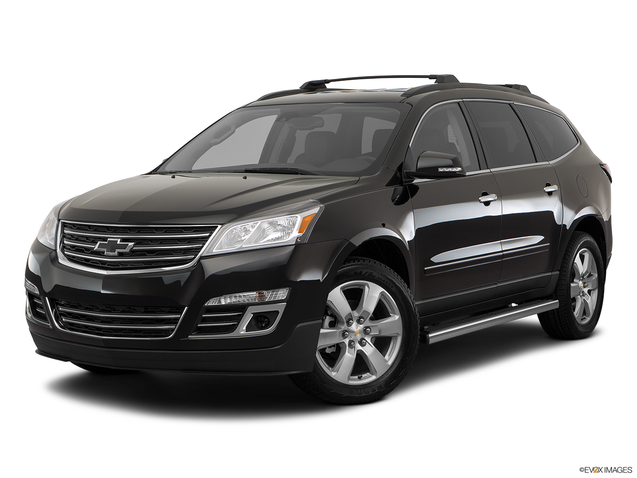 A black 2017 Chevy Traverse is angled left on a white background.