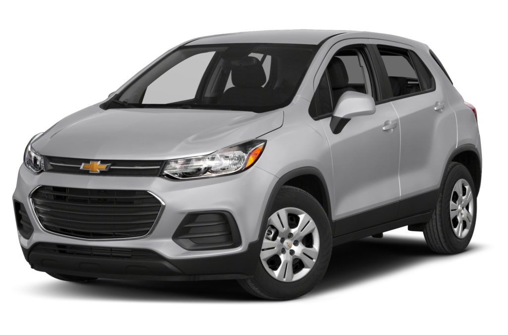 A silver 2017 Chevy Trax is angled left on a white background.