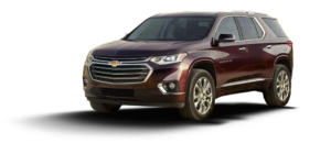 A maroon 2018 Chevy Traverse is angled left on a white background.