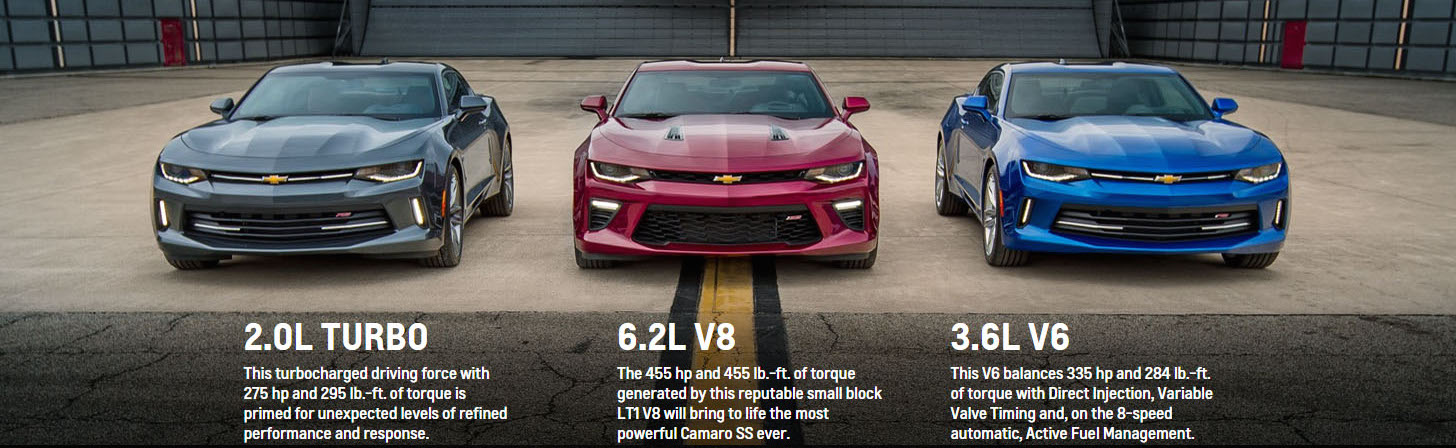 A grey, a red, and a blue 2017 Chevy Camaro are parked in front of a warehouse with engine specs displayed in front.