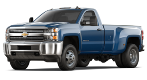A blue 2017 Chevy Silverado 3500HD is angled left on a white background.