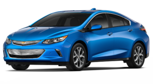 A blue 2017 Chevy Volt is angled left on a white background.