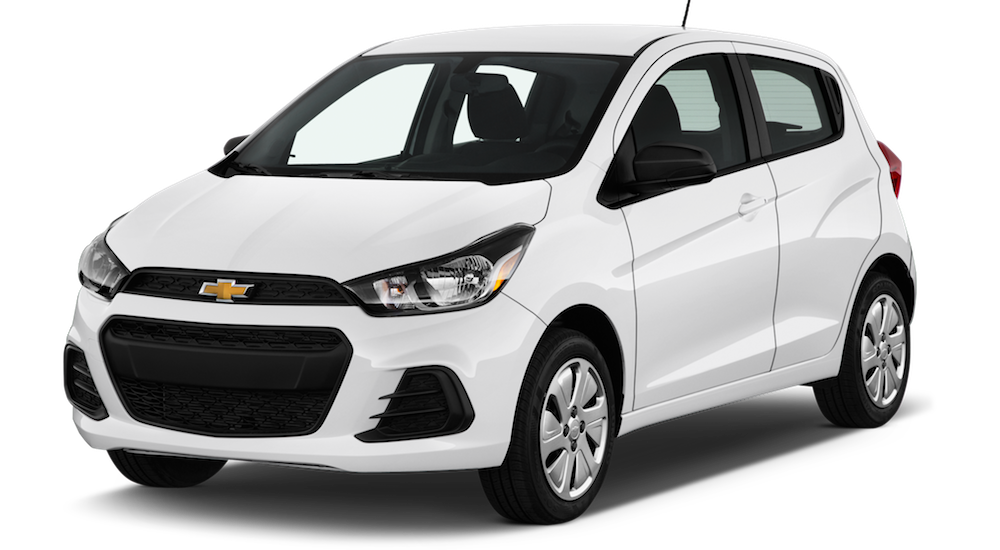 A white 2017 Chevy Spark is angled left on a white background.