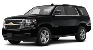 A black 2017 Chevy Tahoe is angled left on a white background.