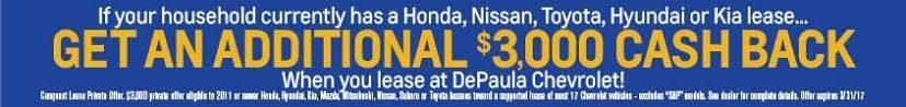 depaula chevy $3,000 cash back