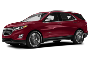 A red 2018 Chevy Equinox is angled left on a white background.