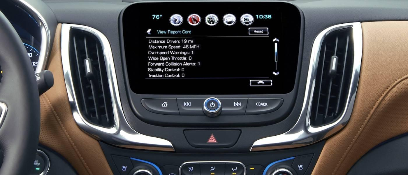 The infotainment screen is shown of a 2018 Chevy Equinox in Albany, NY.