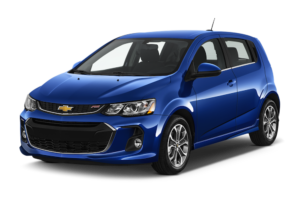 A blue 2017 Chevy Sonic hatchback is angled left on a white background.