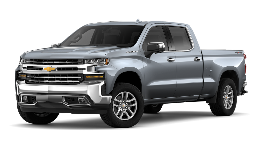 A silver 2019 Chevy Silverado is angled left on a white background.