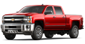 A red 2018 Chevy Silverado 2500HD is angled left on a white background.